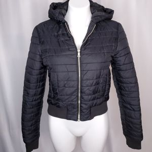 Guess black short puff hooded jacket sz M